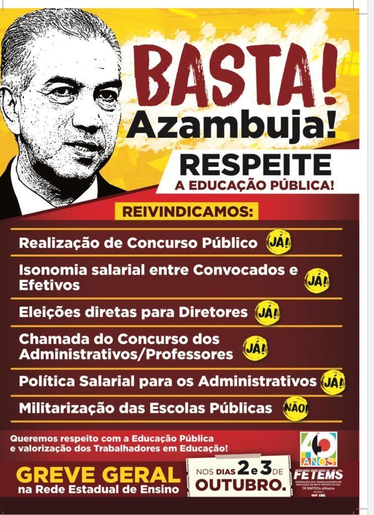 Campanha contra o Governador Reinaldo Azambuja e a Secretaria Estadual de Educação pelo descaso com a Educação Pública e com os(as) Profissionais em Educação de Mato Grosso do Sul 6