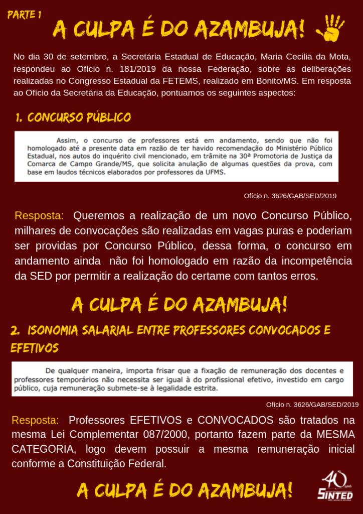 """""""A culpa é do Azambuja!"""": SINTED responde ao Ofício da Secretária Estadual de Educação de MS 20"""