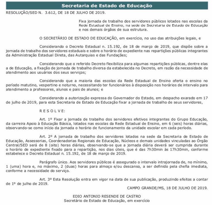 Diário Oficial do Estado publica a regulamentação da Jornada de 6 horas 5