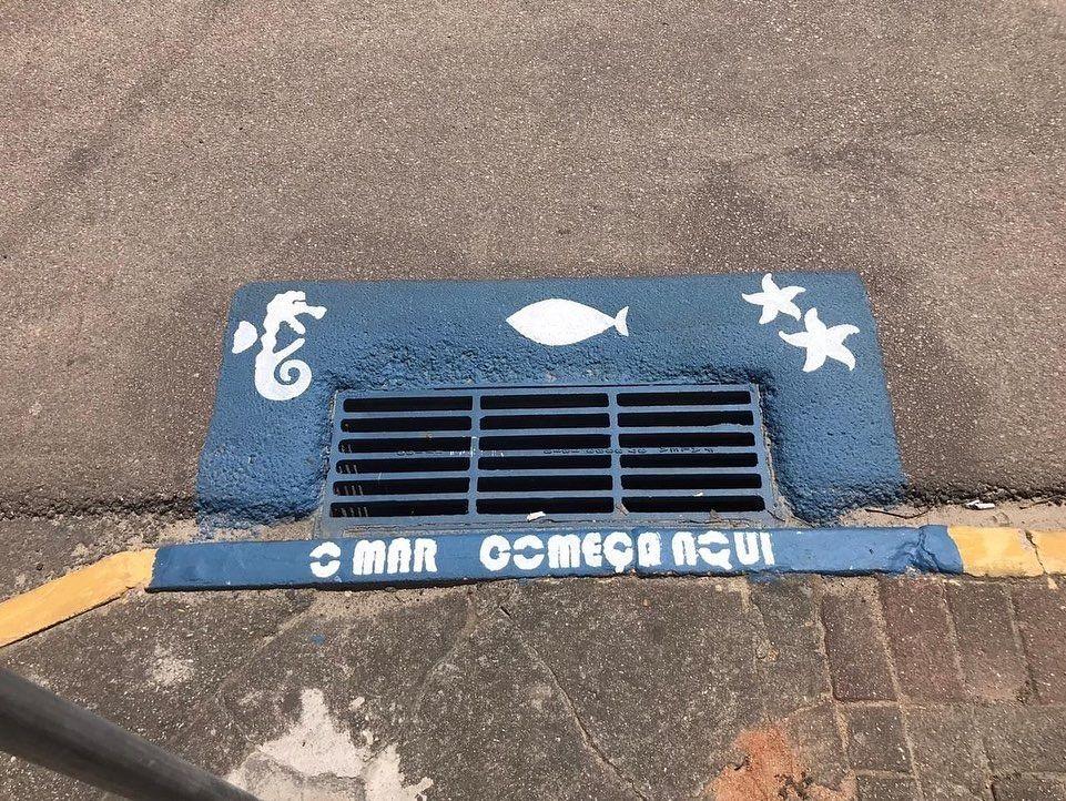 Pintura artística em bueiros alerta contra o descarte irregular de lixo 2
