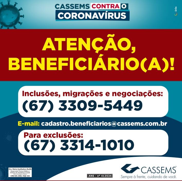 CASSEMS: Atenção, beneficiário! Você pode solicitar atendimento administrativo via telefone 1