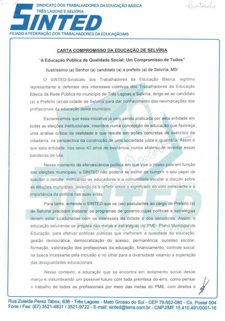 ELEIÇÕES 2020: SINTED ENTREGA CARTA COMPROMISSO DA EDUCAÇÃO PARA CANDIDATOS À PREFEITURA DE TRÊS LAGOAS E SELVÍRIA 16