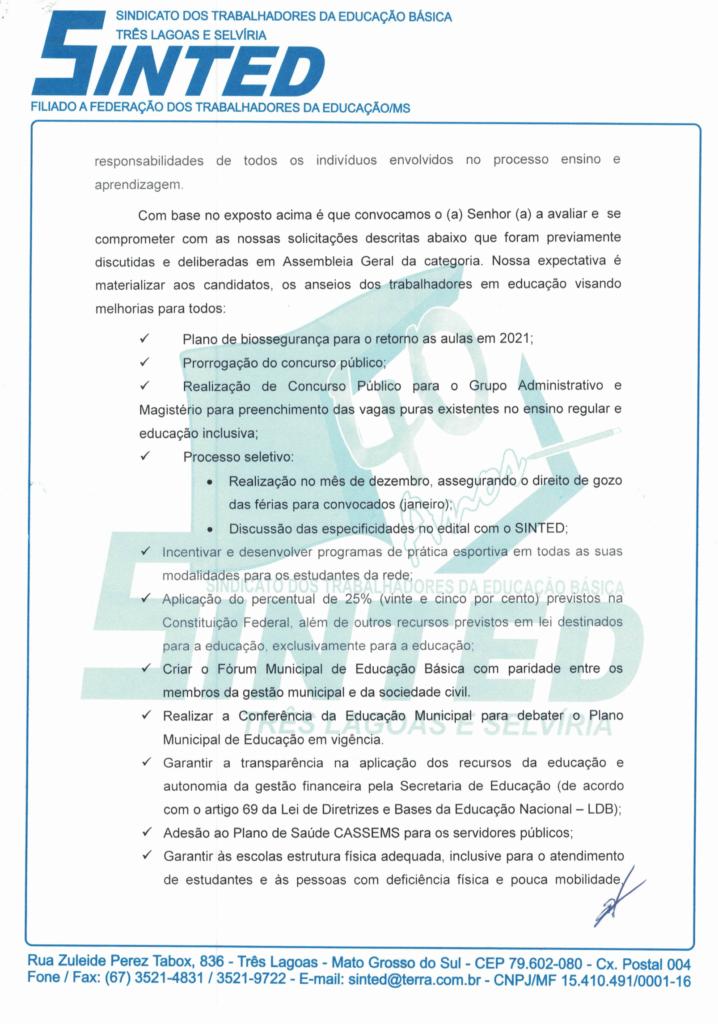 ELEIÇÕES 2020: SINTED ENTREGA CARTA COMPROMISSO DA EDUCAÇÃO PARA CANDIDATOS À PREFEITURA DE TRÊS LAGOAS E SELVÍRIA 17