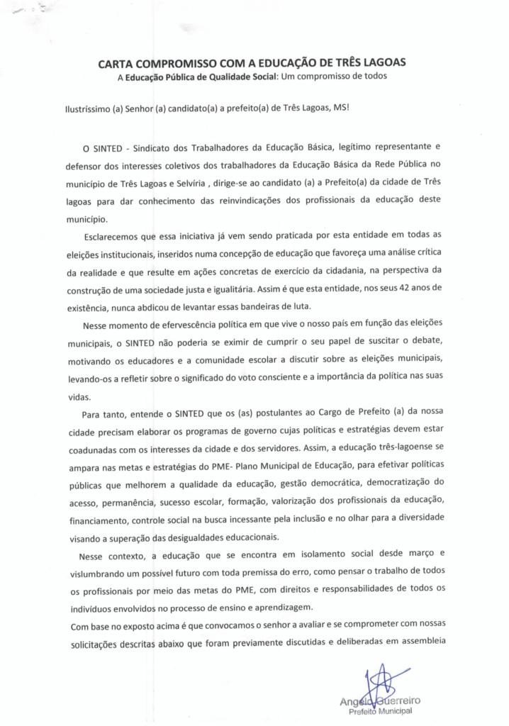 ELEIÇÕES 2020: SINTED ENTREGA CARTA COMPROMISSO DA EDUCAÇÃO PARA CANDIDATOS À PREFEITURA DE TRÊS LAGOAS E SELVÍRIA 14