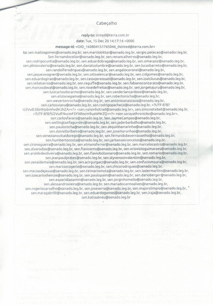 SINTED ENVIA CARTA AOS SENADORES SOLICITANDO APOIO NA REGULAMENTAÇÃO DO FUNDEB 16