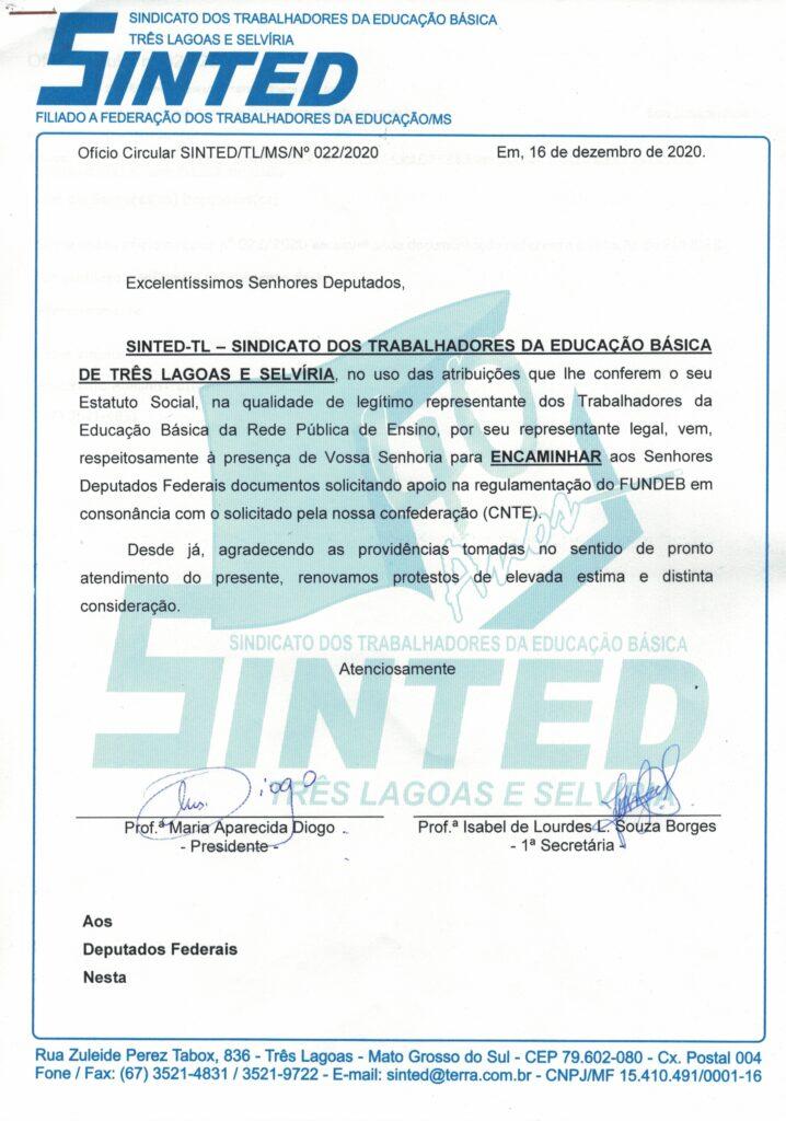 SINTED SOLICITA APOIO DOS DEPUTADOS FEDERAIS NA REGULAMENTAÇÃO DO FUNDEB 9