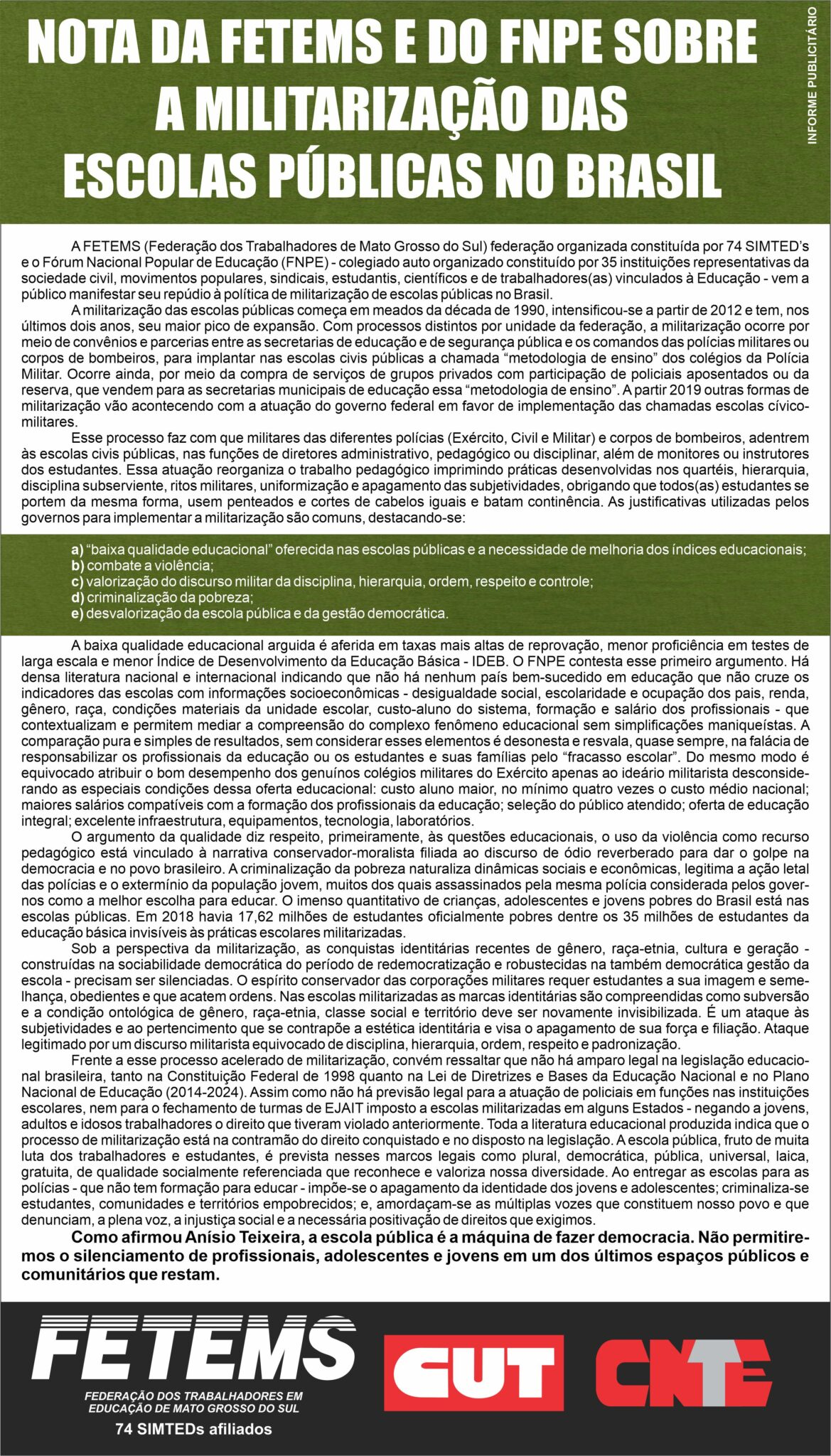 NOTA DA FETEMS E DO FNPE SOBRE A MILITARIZAÇÃO DAS ESCOLAS PÚBLICAS NO BRASIL 1